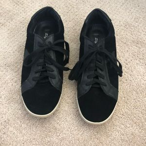 Black suede tennis shoes